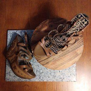 Strappy Woven Platform Wedge Sandal Heels 9.5B